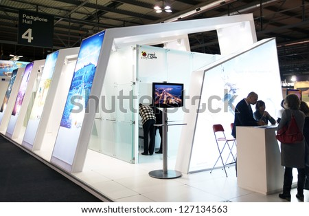 MILAN, ITALY - FEBRUARY 16: People visit Spain exhibition area during BIT, International Tourism Exchange Exhibition on February 16, 2012 in Milan, Italy. - stock photo