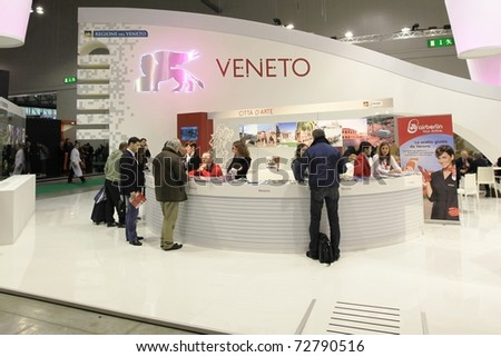 MILAN, ITALY - FEBRUARY 17: People visiting Veneto regional stand at Italian pavilion tourism during BIT International Tourism Exchange Exhibition on February 17, 2011 in Milan, Italy. - stock photo