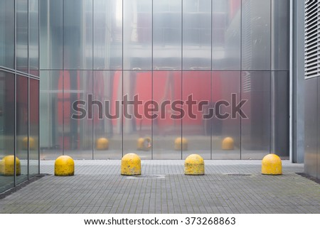 MILAN, ITALY - JANUARY 30:Architectural detail of a building hosting HOMI, home international show and point of reference for all those in the sector of interior design on JANUARY 30, 2016 in Milan. - stock photo