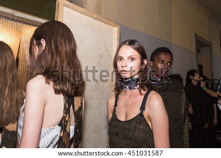 MILAN, ITALY - JUNE 19: Beautiful models pose in the backstage just before Damir Doma SS 17 show during Milan Men's Fashion Week on JUNE 19, 2016 in Milan. - stock photo