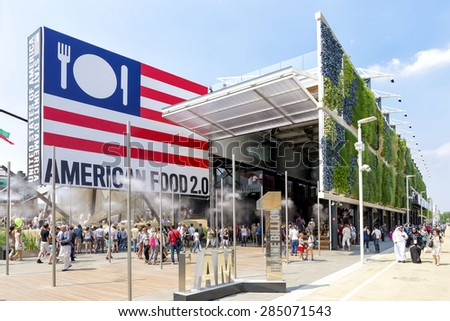 MILAN, ITALY - JUNE 6 2015: People visit United States pavilion at Expo 2015, universal exposition on the theme of food  - feed the planet - stock photo