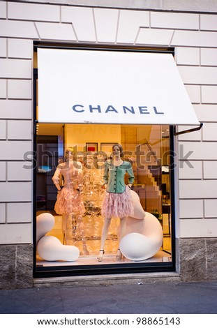 "MILAN, ITALY - MAR 30: Chanel boutique near Via Montenapoleone in Milan on March 30, 2012. Chanel is a french haute-couture fashion house founded by the couturier Gabrielle ""Coco"" Chanel in 1909. - stock photo"