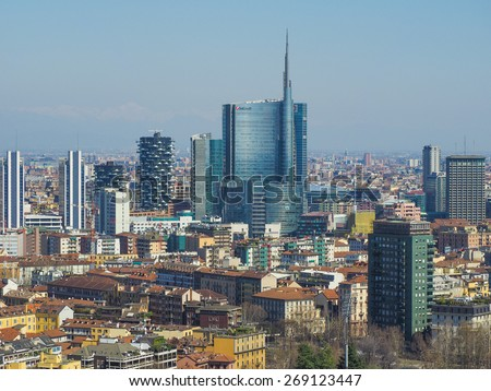 MILAN, ITALY - MARCH 28, 2015: Aerial view of the city with the new skyscrapers built for Expo Milano 2015 international exhibition - stock photo