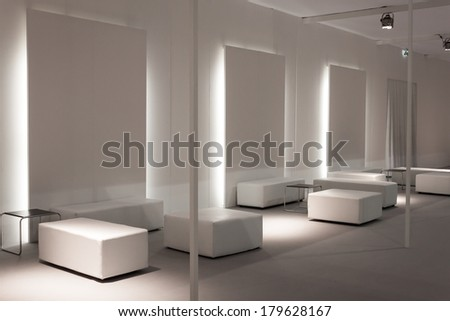 MILAN, ITALY - MARCH 1: Empty vip lounge at Mido, international exhibition for optics, optometry and ophthalmology on MARCH 1, 2014 in Milan. - stock photo