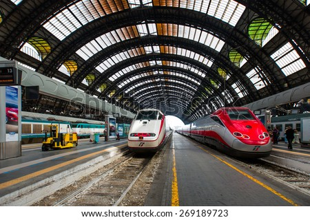 MILAN, ITALY - MARCH 20, 2015: High-speed Eurostar train at the railway station in Milan - stock photo