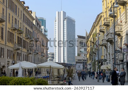 MILAN, ITALY-MARCH 23, 2015: old buildings of Corso Como fashion district, and modern buildings of Porta Garibaldi, in Milan. - stock photo