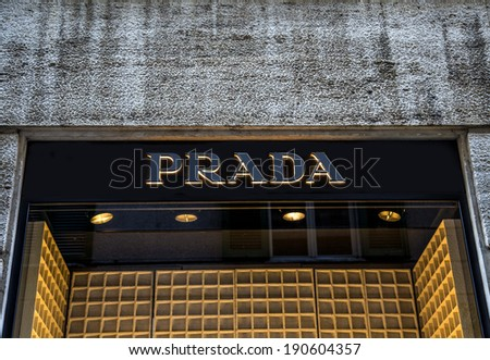 MILAN, ITALY - MARCH 9, 2014: Prada shop in Milan, Italy. is an Italian luxury fashion house founded in Milan by Mario Prada at 1913 - stock photo