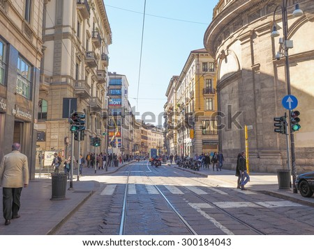 MILAN, ITALY - MARCH 28, 2015: Tourists in Via Torino high street - stock photo