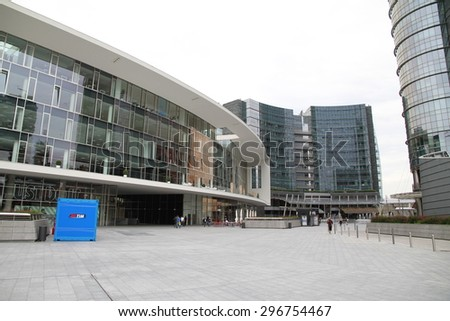 MILAN, ITALY - MAY 23, 2015: A view of the new Porta Garibaldi area and its modern architecture in Milan, Italy. - stock photo