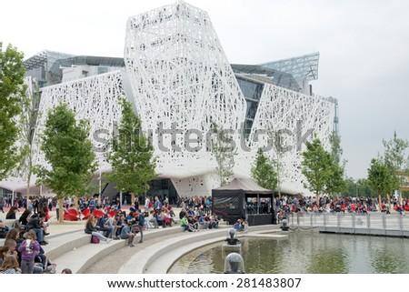 MILAN, ITALY-MAY 04, 2015: Architectural design of the Italian pavillion at EXPO 2015, in Milan.  - stock photo