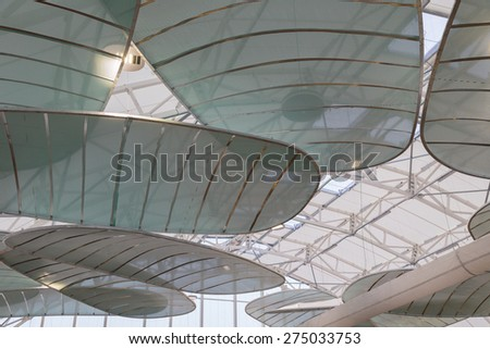 MILAN, ITALY - MAY 1: Architectural detail of a pavilion at Expo, universal exposition on the theme of food on MAY 1, 2015 in Milan. - stock photo