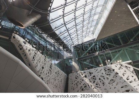 MILAN, ITALY - MAY 25: Architectural detail of Italy pavilion at Expo, universal exposition on the theme of food on MAY 25, 2015 in Milan. - stock photo