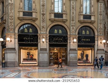 MILAN, ITALY - MAY 10, 2014: Boutique Prada in Vittorio Emanuele II Gallery in Milan, Italy - stock photo