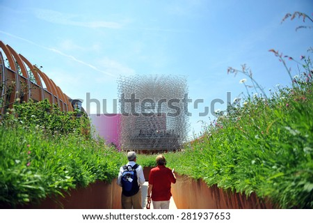 MILAN, ITALY - May 11: England pavilion at Expo, universal exposition on the theme of food on  May 11, 2015 in Milan, Italy.  - stock photo