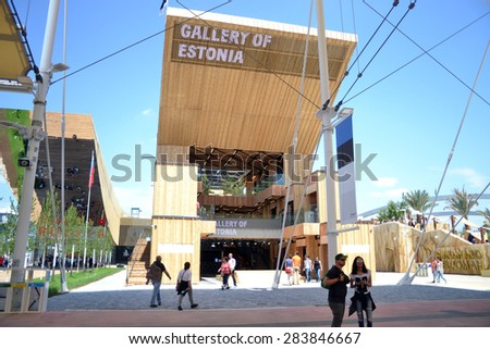 MILAN, ITALY - May 11:  Estonia pavilion at Expo, universal exposition on the theme of food on  May 11, 2015 in Milan, Italy. - stock photo