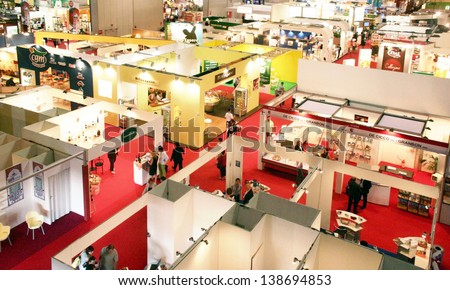 MILAN, ITALY - MAY 10: Panoramic view of regional and local food productions stands at Tuttofood 2009, World Food Exhibition May 10, 2011 in Milan, Italy. - stock photo