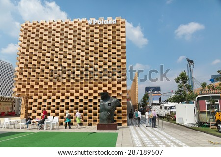 MILAN, ITALY - May 26: Poland pavilion at Milan Expo, universal exposition on the theme of food on May 26, 2015 in Milan, Italy.  - stock photo