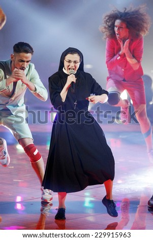 MILAN, ITALY - MAY 07: Sister Cristina Scuccia performs during 'The Voice of Italy' award on May 7, 2014 in Milan,Italy. - stock photo