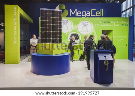 MILAN, ITALY - MAY 7: Solar panels on display at Solarexpo, international exhibition for promoting innovative and renewable energy technology on MAY 7, 2014 in Milan. - stock photo