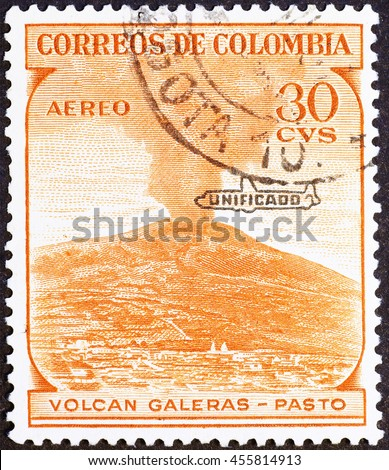 Milan, Italy - May 17, 2014: Volcano Galeras on vintage colombian postage stamp - stock photo