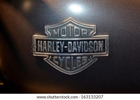 MILAN, ITALY - NOV 5: brand Harley Davidson at EICMA, 71 th International Motorcycle Exhibition November 5, 2013 in Milan, Italy. - stock photo