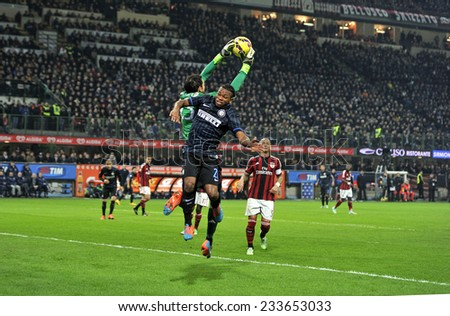 MILAN, ITALY-NOVEMBER 23,2014: soccer players in action during the milanese derby AC Milan vs FC Internazionale, at the san siro stadium, in Milan. - stock photo
