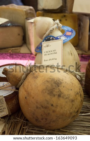 MILAN, ITALY - NOVEMBER 18: Typical Italian cheese wheels at Golosaria, important event dedicated to culture and tradition of quality food and wine on NOVEMBER 18, 2013 in Milan. - stock photo
