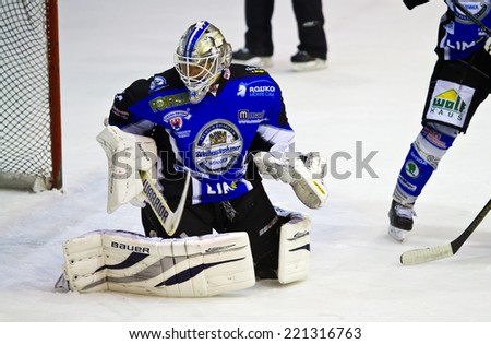MILAN, ITALY - OCT 02: Joni Puurula during a game at Agora Arena on October 2, 2014, in Milan against HC Milano Rossoblu - stock photo