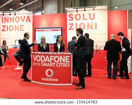 MILAN, ITALY - OCTOBER 17: Close up of Vodafone business area at SMAU, international fair of business intelligence and information technology October 17, 2012 in Milan, Italy.  - stock photo