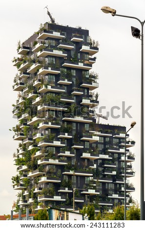 MILAN, ITALY - OCTOBER 15,2014:  The new Bosco Verticale building in Porta Nuova area, Milan, Italy. - stock photo
