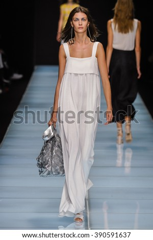 MILAN, ITALY - SEPTEMBER 24: A model walks the runway during the Anteprima fashion show as part of Milan Fashion Week Spring/Summer 2016 on September 24, 2015 in Milan, Italy.  - stock photo