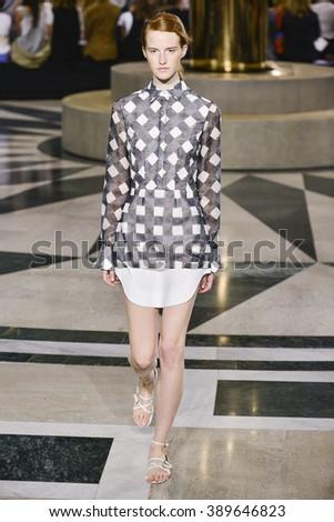 MILAN, ITALY - SEPTEMBER 26: A model walks the runway during the Aquilano Rimondi fashion show as part of Milan Fashion Week Spring/Summer 2016 on September 26, 2015 in Milan, Italy. - stock photo