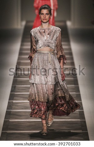 MILAN, ITALY - SEPTEMBER 25: A model walks the runway during the Etro show as a part of Milan Fashion Week Spring/Summer 2016 on September 25, 2015 in Milan, Italy.  - stock photo