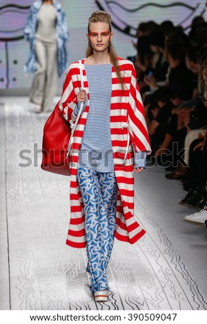MILAN, ITALY - SEPTEMBER 24: A model walks the runway during the Max Mara show as a part of Milan Fashion Week Spring/Summer 2016 on September 24, 2015 in Milan, Italy.  - stock photo