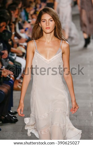MILAN, ITALY - SEPTEMBER 25: A model walks the runway during the Philosophy di Lorenzo Serafini fashion show as part of Milan Fashion Week Spring/Summer 2016 on September 25, 2015 in Milan, Italy. - stock photo