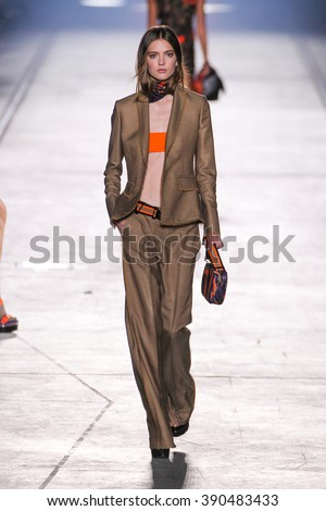 MILAN, ITALY - SEPTEMBER 25: A model walks the runway during the Versace fashion show as part of Milan Fashion Week Spring/Summer 2016 on September 25, 2015 in Milan, Italy. - stock photo