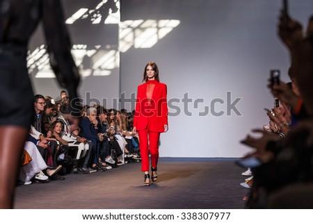 Milan, Italy - 24 September 2015: Italian fashion designer Ennio Capasa walks the runway during the Costume National Ready to Wear fashion show as part of Milan Fashion Week Spring/Summer 2016 - stock photo