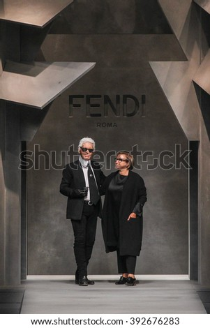 MILAN, ITALY - SEPTEMBER 24: Karl Lagerfeld, Silvia Fendi walk the runway during the Fendi fashion show as part of MFW S/S 2016 on September 24, 2015 in Milan, Italy. - stock photo