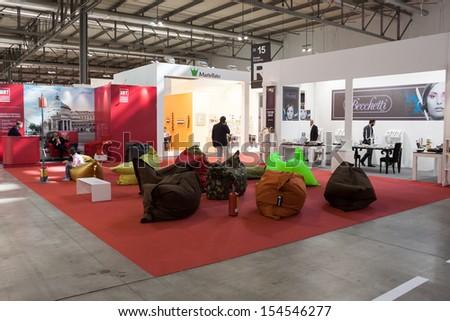 MILAN, ITALY - SEPTEMBER, 12: Macef, home international show in Milan, SEPTEMBER 12, 2013. A colorful relax area at Macef home show, point of reference for all those in the sector of interior design - stock photo