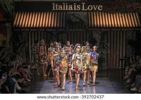 MILAN, ITALY - SEPTEMBER 27: Models walk the runway during the Dolce and Gabbana show as a part of Milan Fashion Week Spring/Summer 2016 on September 27, 2015 in Milan, Italy.  - stock photo