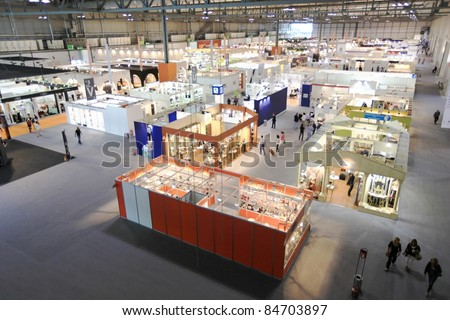 MILAN, ITALY - SEPTEMBER 09: Panoramic view of the area dedicated to interior design at Macef, International Home Show Exhibition on September 09, 2011 in Milan, Italy. - stock photo