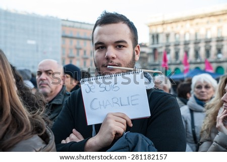 Milan, January 10, 2015 - Portrait of a young boy showing, with the words 'I'm Charlie', its solidarity for the victims of the terroristic attack in France. - stock photo