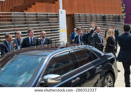 MILAN, JUNE 17, 2015: UK Prime Minister David Cameron, was received by the Italian Prime Minister, Matteo Renzi, on the occasion of the UK National Day at Expo 2015.  - stock photo