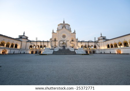 Milan (Lombardy, Italy)  - Facade of the Monumental Cemetery - stock photo
