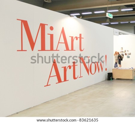 MILAN - MARCH 27: Entering MiArt ArtNow, international exhibition of modern and contemporary art March 27, 2010 in Milan, Italy. - stock photo