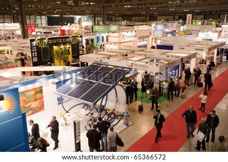 MILAN -  NOV 17-19: Top view of ENERSOLAR+ , GREENENERGY Expo 2010, International fair on solar and green energy, in Milan Fair, Nov 17-19, 2010. - stock photo