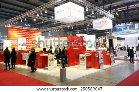 MILANO, ITALY - FEBRUARY 16, 2012: People visit Austria exhibition area during BIT, International Tourism Exchange Exhibition in Milano, Italy. - stock photo