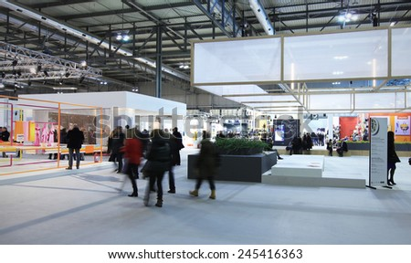 MILANO, ITALY - JANUARY 19, 2015: People at the entrance of HOMI, international fair exhibition of lifestyle and interiors design, last trade show before nex EXPO in Milano, Italy. - stock photo