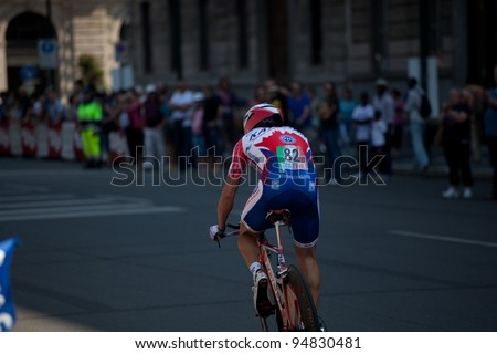 MILANO, ITALY - MAY 29: Cyclist Danilo Di Luca competes during the 21th Stage of 2011 Giro d'Italia, an individual time trial stage, on May 29, 2011 in Milano, Italy - stock photo