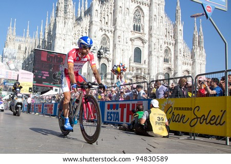 MILANO, ITALY - MAY 29: Cyclist Michele Scarponi competes during the 21th Stage of 2011 Giro d'Italia, an individual time trial stage, on May 29, 2011 in Milano, Italy - stock photo